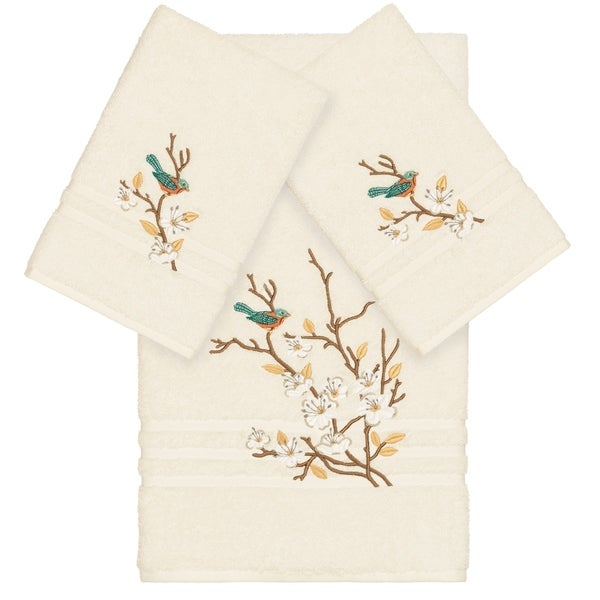 Authentic Hotel and Spa Turkish Cotton Blue Bird Embroidered Cream 3-piece Towel Set
