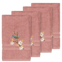 Authentic Hotel and Spa Turkish Cotton Blue Bird Embroidered Tea Rose 4-piece Hand Towel Set
