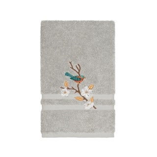 Authentic Hotel and Spa Turkish Cotton Blue Bird Embroidered Light Grey Hand Towel