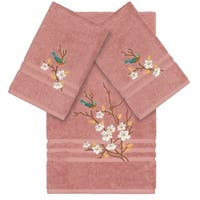Authentic Hotel and Spa Turkish Cotton Blue Bird Embroidered Tea Rose 3-piece Towel Set