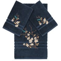 Authentic Hotel and Spa Turkish Cotton Blue Bird Embroidered Midnight Blue 3-piece Towel Set