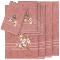 Authentic Hotel and Spa Turkish Cotton Blue Bird Embroidered Tea Rose 8-piece Towel Set