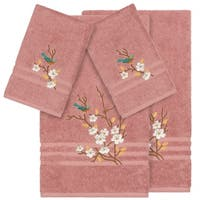 Authentic Hotel and Spa Turkish Cotton Blue Bird Embroidered Tea Rose 4-piece Towel Set