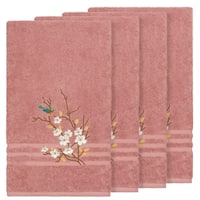 Authentic Hotel and Spa Turkish Cotton Blue Bird Embroidered Tea Rose 4-piece Bath Towel Set