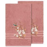 Authentic Hotel and Spa Turkish Cotton Blue Bird Embroidered Tea Rose 2-piece Bath Towel Set