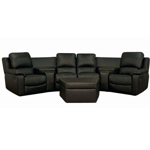 Black Leather 7-piece Recliner Sectional Seating w/ Ottoman