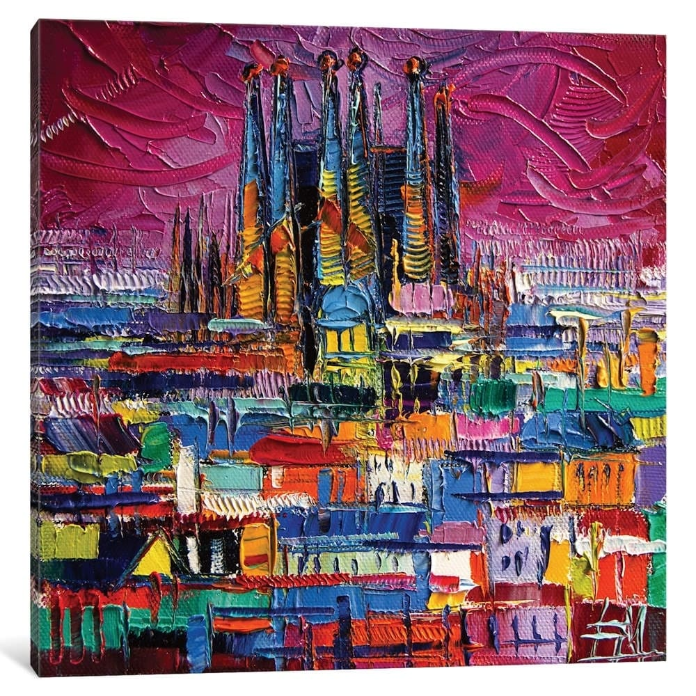 Shop Icanvas Barcelona Colors By Mona Edulesco Canvas Print Overstock 22546313