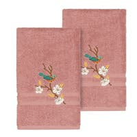 Authentic Hotel and Spa Turkish Cotton Blue Bird Embroidered Tea Rose 2-piece Towel Hand Set