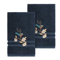 Authentic Hotel and Spa Turkish Cotton Blue Bird Embroidered Midnight Blue 2-piece Towel Hand Set