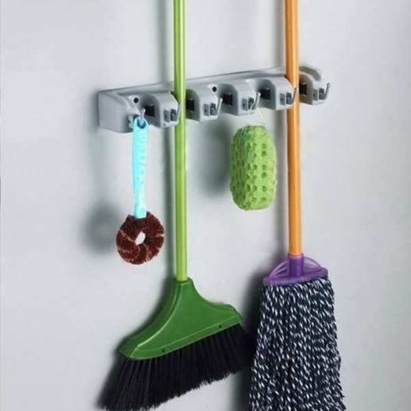 Wall Mounted Mop Holder Brush Broom Hanger Storage Rack Kitchen Tool