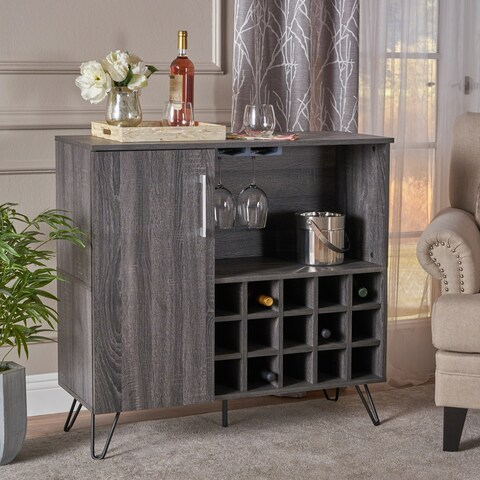 Lochner Mid Century Faux Wood Wine and Bar Cabinet by Christopher Knight Home