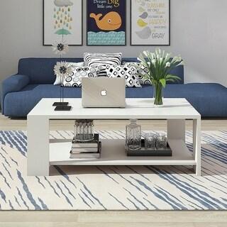 Rectangle Wood Living Room Furniture Coffee Table End Table w/ Storage (2 options available)