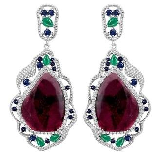 Jeweltique Designs Sterling Silver Earring Tourmaline, Emerald, Sapphire & Topaz