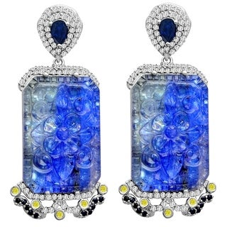 Tanzanite, Sapphire, Topaz & Diamond 925 Sterling Silver Earring by Jeweltique Designs
