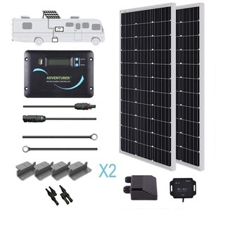 Renogy 200W 12V Mono Solar Panel RV Kit 200 Watt Motorhome Van Battery Charger