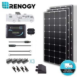 Renogy 300W 12V High Efficiency Solar Panel RV Kit 30A Controller Off Grid Power