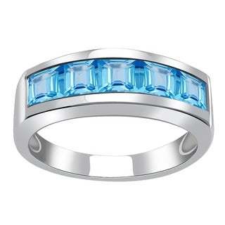 2.25ct TGW Blue Topaz Sterling Silver Engagement Ring