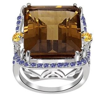22.16ct TGW Smoky Quartz, Citrine & Iolite Sterling Silver Engagement Ring