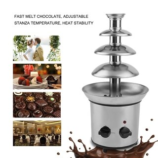 4 Tier Commercial Stainless Steel Chocolate Fondue Waterfall Fountain Machine