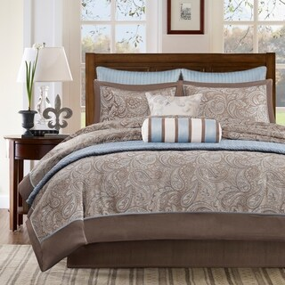 Madison Park Whitman Ivory 100-Percent Polyester Jacquard 8pcs Comforter Set with One Bonus Coverlet
