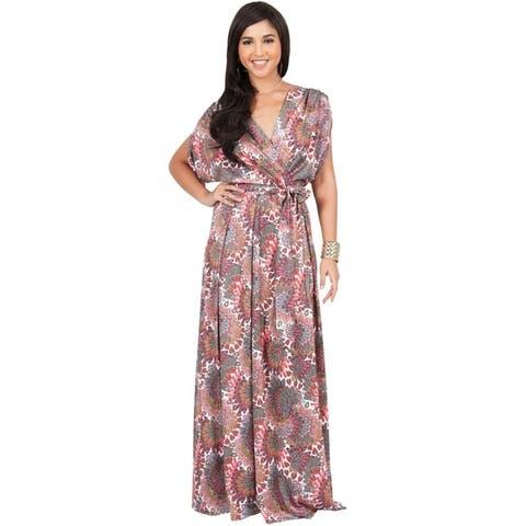 KOH KOH Womens Beach Sun Boho Print Sleeve Summer V-neck Maxi Dress