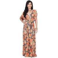 KOH KOH Womens Beach Sun Boho Print Sleeve Summer V-neck Maxi Dress