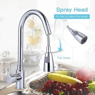 "6"" Pull-Out Chrome Spray Swivel Kitchen Faucet w/ Mixer Tap"