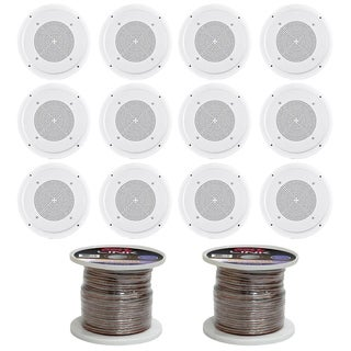 Pyle PDICS54 5-Inch In Ceiling Wall Speakers with Transformer and 16 Gauge 100 ft. Speaker Zip Wire