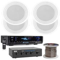 Pyle PT390BTU Home Theater Bluetooth Stereo Receiver, PDICS82 8'' Speakers 4 Ch Speaker Selector and Speaker wire