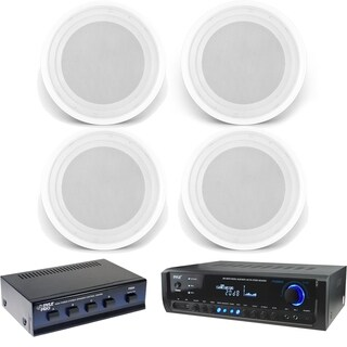 Pyle PT390BTU Digital Home Bluetooth Receiver with (4) PDICS82 8-Inch Speakers and 4 Channel Speaker Selector