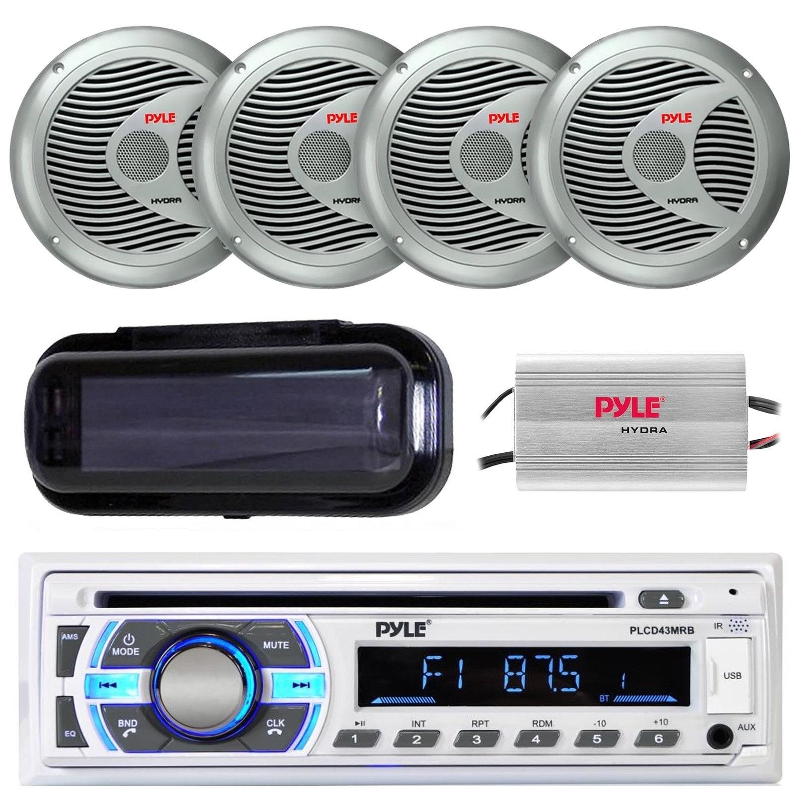 "Marine 6.5/"" Speakers Radio Cover Pyle PLCD43MRB Bluetooth USB Radio Antenna"