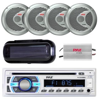 Pyle PLCD43MRB Marine Bluetooth Receiver, 6.5'' 150W Marine Speakers, 4 Ch. Marine Power Amplifier, Radio Shield/Wire Antenna