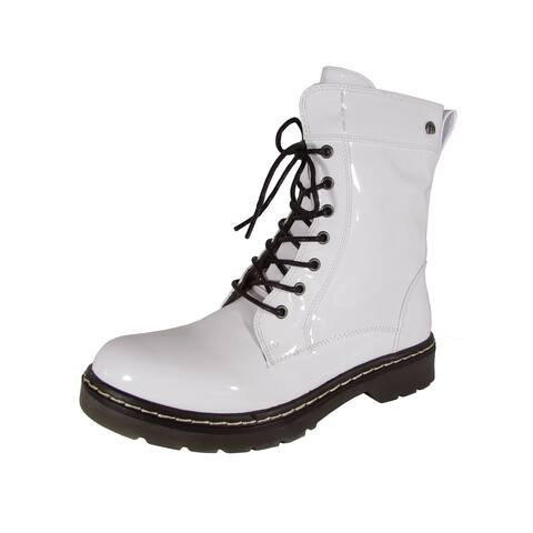 MTNG Mustang Womens 56383 Lace Up Boots, White Patent