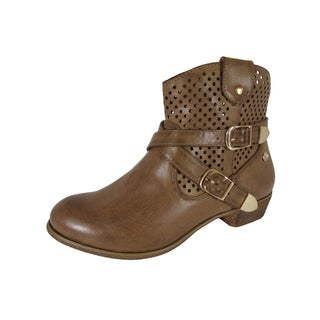 MTNG Mustang Womens 58390 Perforated Heeled Booties, Brown