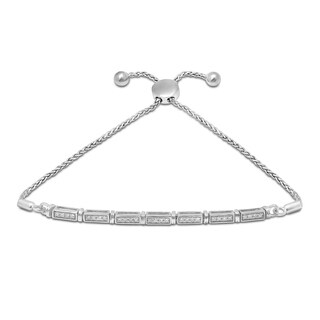 Unending Love Sterling Silver 1/6ct TDW Diamond Adjustable Slider Bolo Bracelet