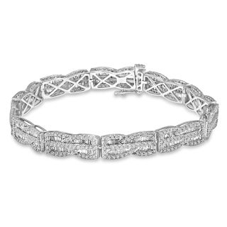 Unending Love 10K White Gold 3-3/4ct TDW Baguette and Round Diamond Fashion Bracelet