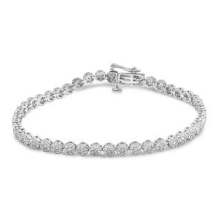 Unending Love 10K White Gold 2ct TDW Diamond Flower Bracelet