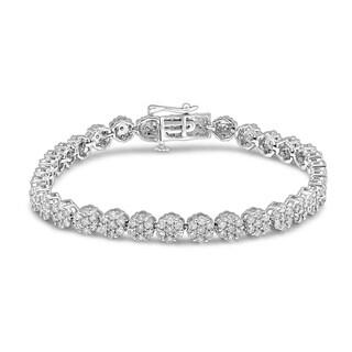 Unending Love 10K White Gold 5ct TDW Diamond Flower Bracelet