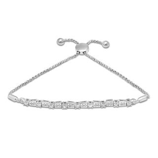 Unending Love Sterling Silver 1/3ct TDW Diamond Adjustable Slider Bolo Bracelet