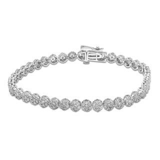Unending Love 10K White Gold 3ct TDW Diamond Flower Bracelet