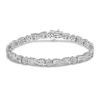 Unending Love 10K White Gold 2-3/8ct TDW Diamond Tennis Bracelet