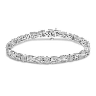 Unending Love 10K White Gold 2-5/8ct TDW Baguette and Round Diamond Fashion Bracelet