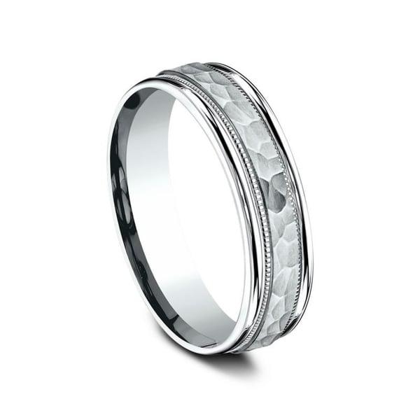 Wedding Band 10k White Gold 6mm: Shop 10K White Gold 6mm Men's Hammered Finish Comfort-Fit