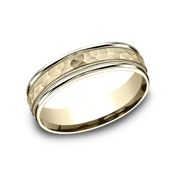 Hammered Finish Bands: Shop 10K Yellow Gold 6mm Men's Hammered Finish Comfort-Fit