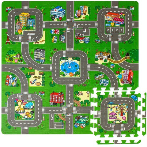 Children Puzzle Play Traffic Foam Mat, 9 Pieces