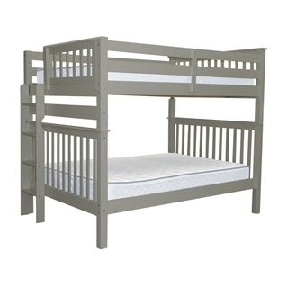 Bedz King Grey Pine Full Over Full Mission Style Bunk Beds with End Ladder