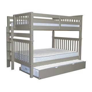 Bedz King Grey Pine Bunk Beds Full Over Full Mission Style with End Ladder and a Twin Trundle