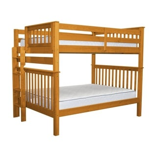 Bedz King Full-Over-Full Honey Brazilian Pine Mission Style Bunk Beds with End Ladder