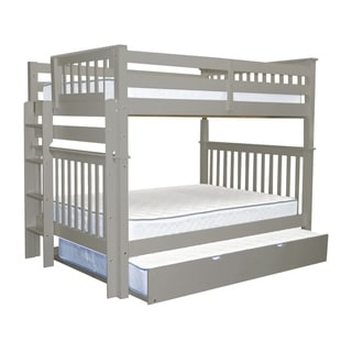 Bedz King Grey Pine Full-over-full Mission-style Bunk Beds with End Ladder and a Full Trundle