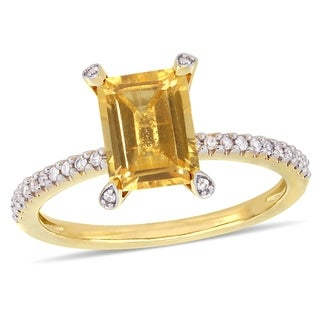 Miadora 10k Yellow Gold Octagon Cut Citrine And 1 10ct TDW Diamond Solitaire Ring
